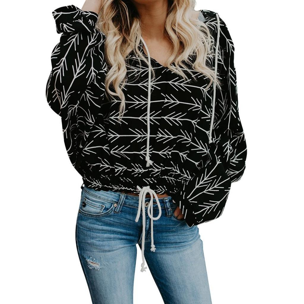 Bafaretk Womens Tops Casual Arrow Print Blouse Long Sleeve Hooded Sweatshirt Pullover Hoodie (M, Black)