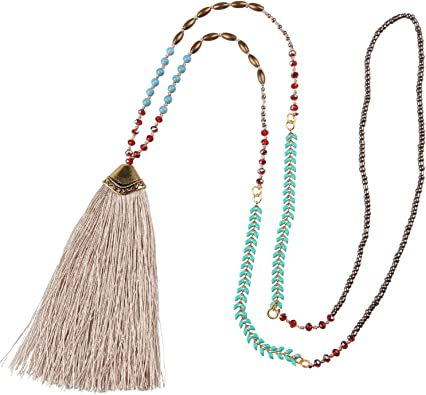 Tassel Necklaces for Women,Dainty Silver Necklace,Tassel Necklace,Cute Gifts for Women,Pendant Necklace for Women,Boho Necklace