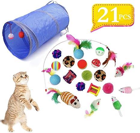 QIMMU Juguetes para Gatos, 21 Piezas Juguete Interactivo para ...