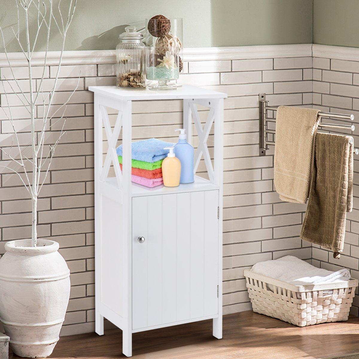 Costway Bathroom Cabinet Freestanding Floor Stand Storage Carved Shelving Cupboard Wood Indoor Home White