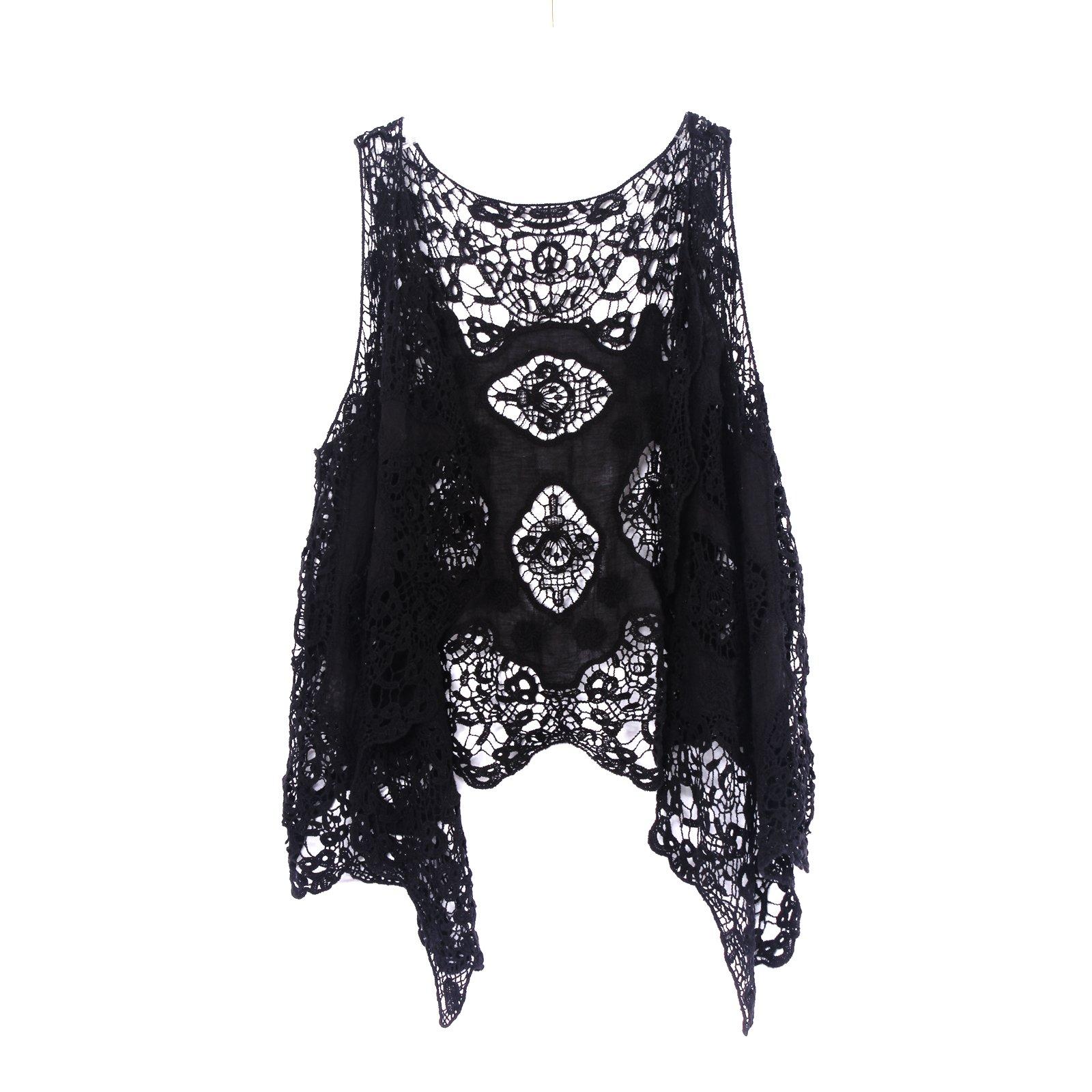 Jastie Open Stitch Cardigan Boho Hippie Butterfly Crochet Vest (Black), One Size