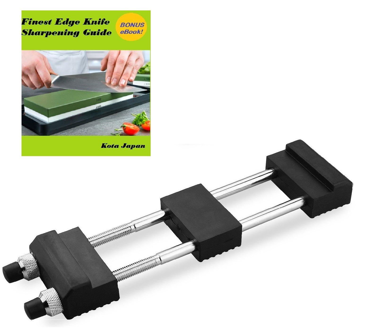 Diamond Sharp Universal Sharpening Whetstone and Bench Stone Sharpener Holder with Adjustable No-Slip Base & FREE e-Book