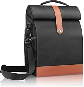 SITHON Reusable Lunch Bag | Cooler Tote Box | Waterproof and Insulated Interior | Stain Resistant Exterior | Keeps Food and Drinks Cold | Adjustable Strap | Perfect for Women Men and Kids, Black