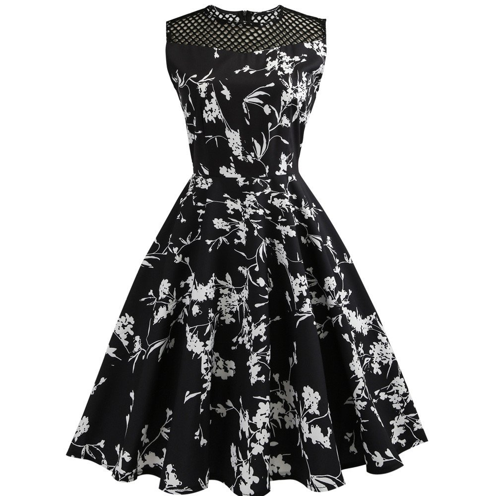 Clearance! 50S 60S Vintage Dresses Sleeveless for Women Hollow Out Floral Print Prom Swing O-Neck Dresses for Summer