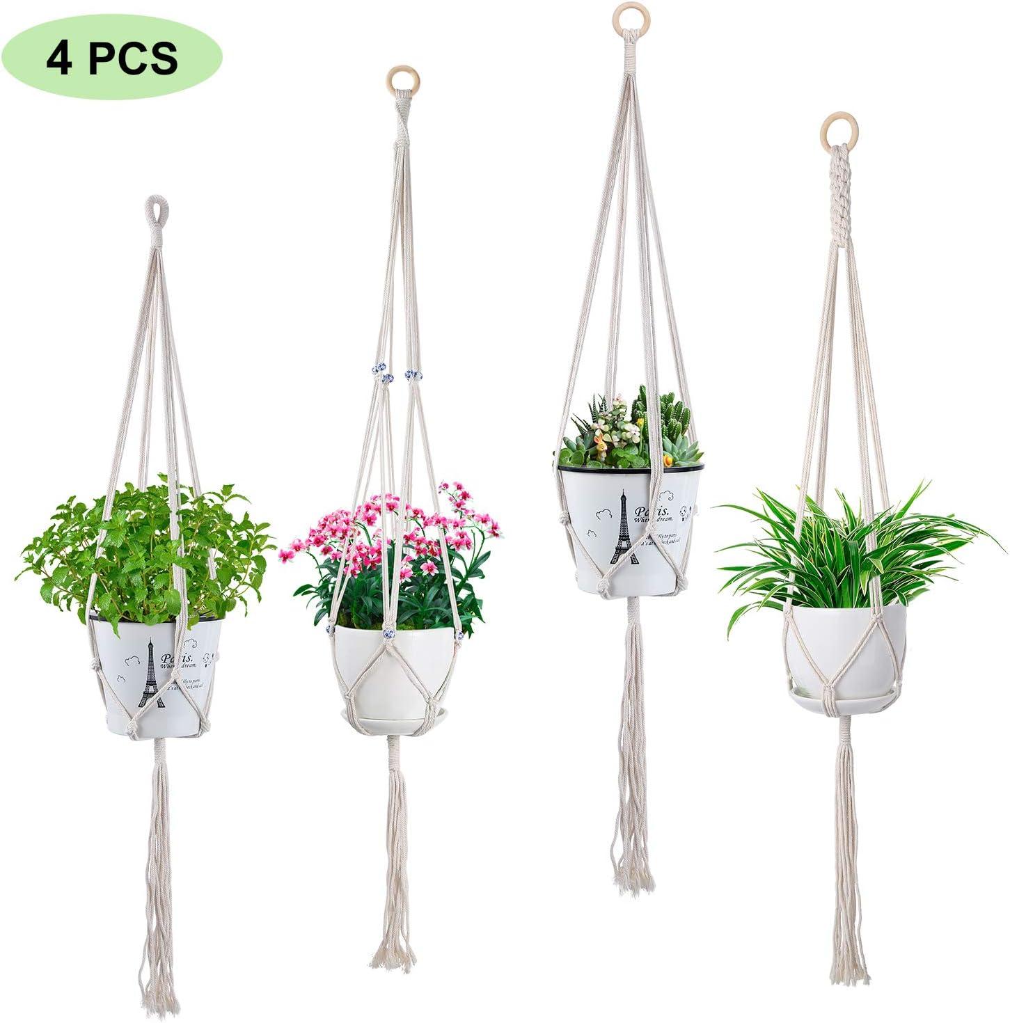 SS SHOVAN 4 Pack Plant Hangers, Macrame Plant Hangers Indoor Handmade Cotton Hanging Planter Basket Flower Pots Holders for Indoor Home Ceiling Outdoor Garden Balcony Decoration