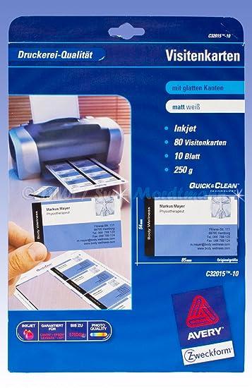 Avery Zweckform Visitenkarten Glatte Kanten C32015 10