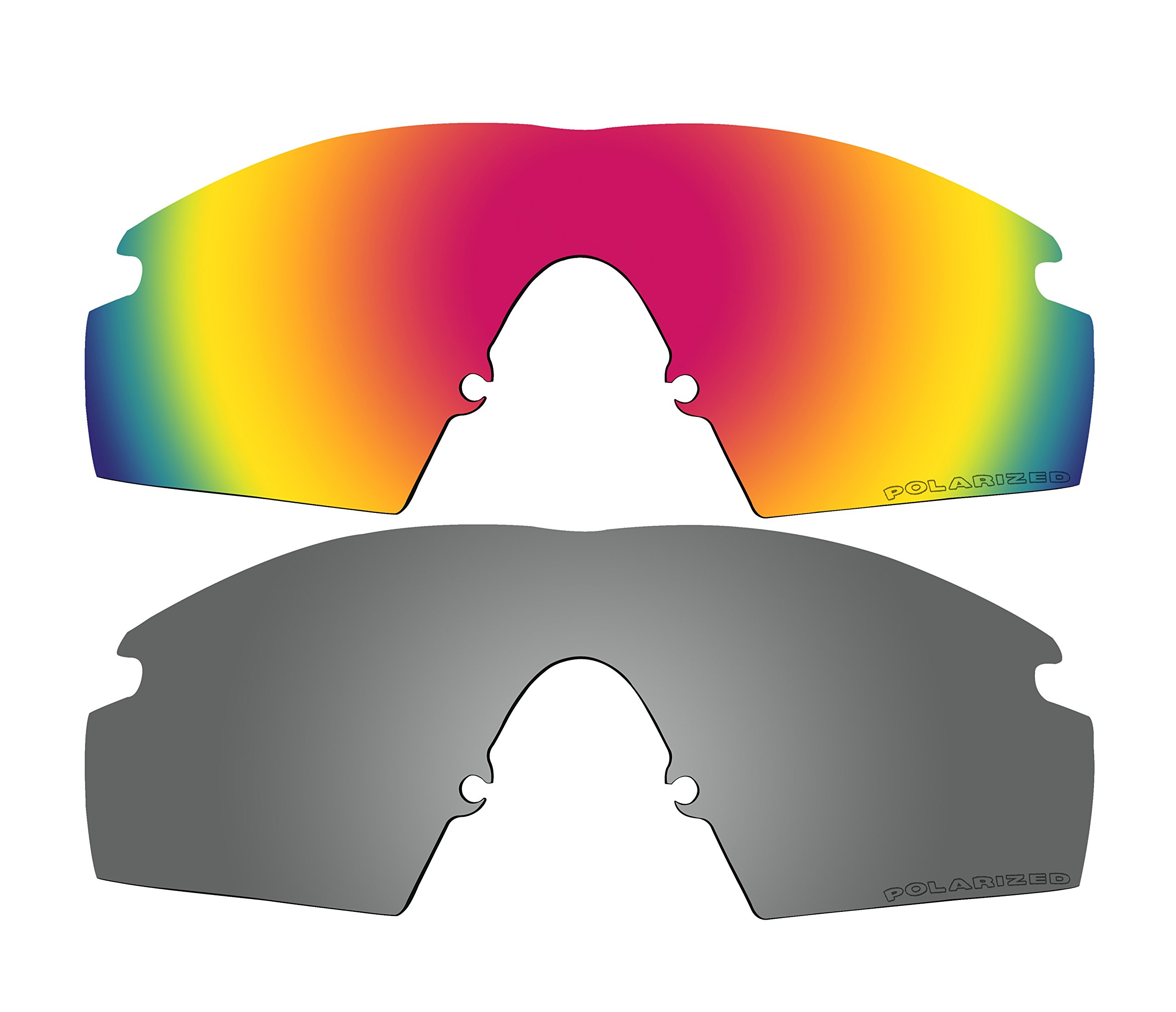 2 Pairs Polarized Replacement Lenses Red & Black Mirror for Oakley M Frame Strike, New (1999) Sunglasses by BVANQ