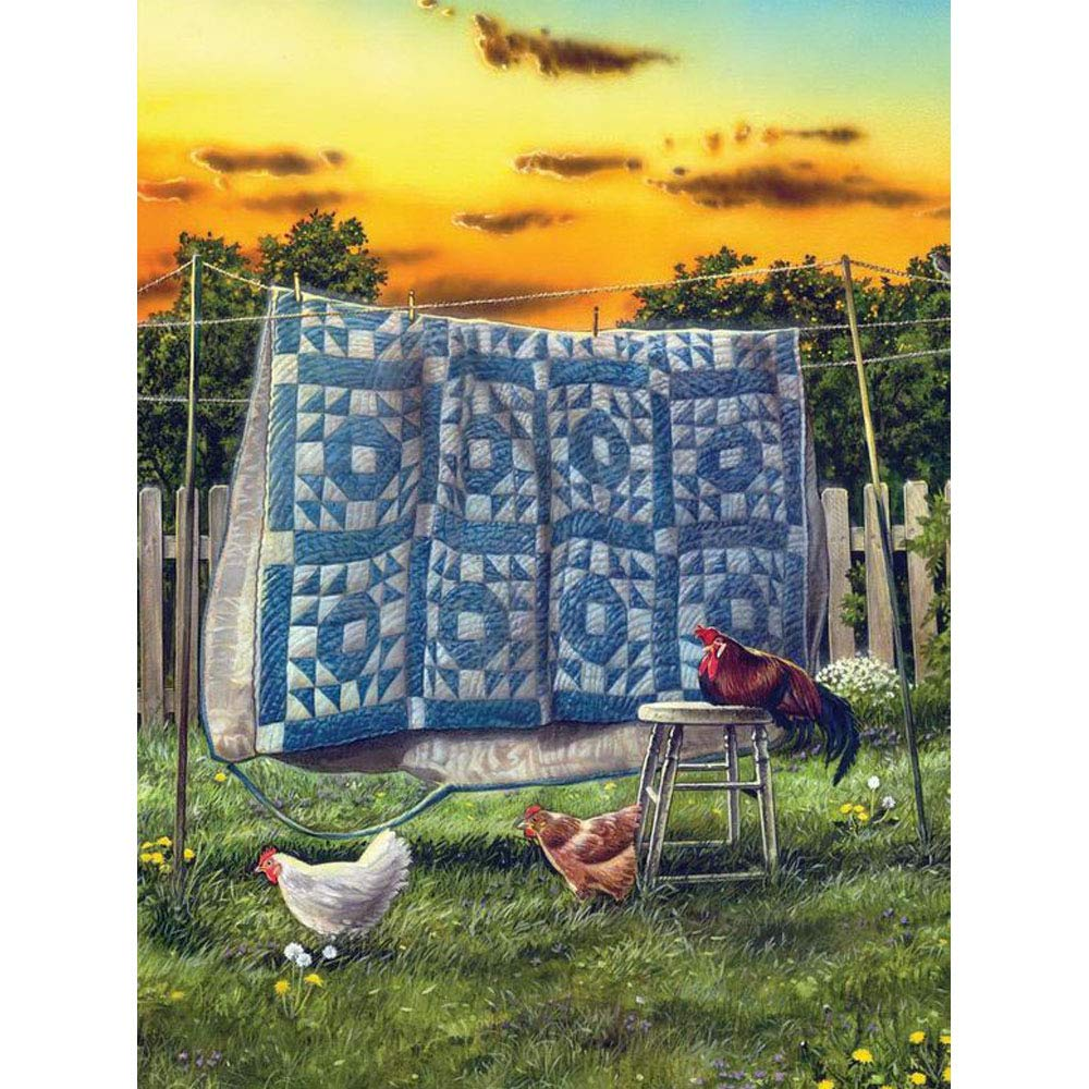 24x34cm 5D DIY Full Square Drill Diamond Painting Cross StitchRooster and Hens Chicken Quilt Rhinestone Diamond Embroidery Mosaic Decor