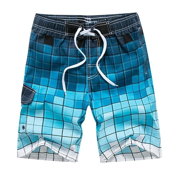 ISSHE Bañadores Natacion Hombre Bañador Surfero Corto Hombres Traje De Baño  Playa Hombre Bañadores Surferos Pantalones Cuadros Cortos Baño Bóxers Shorts  ... 514d724fd83