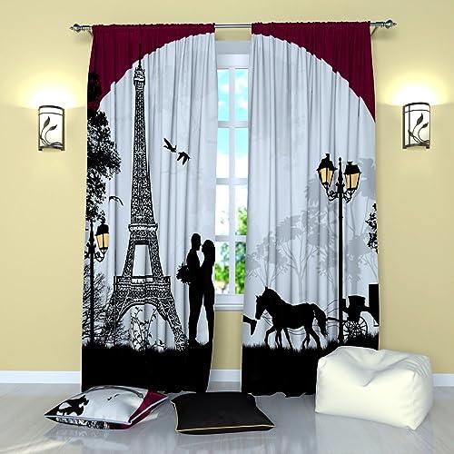 Factory4me Paris Curtains Paris Romanticism Window Curtain Set of 2 Panels Each W52 x L96 Total W104 x L96 inches Drapes
