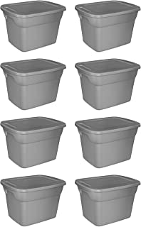 product image for Case of 8, 18 Gallon Durable Construction Molded-in Handles Tote Box- Steel, Gray
