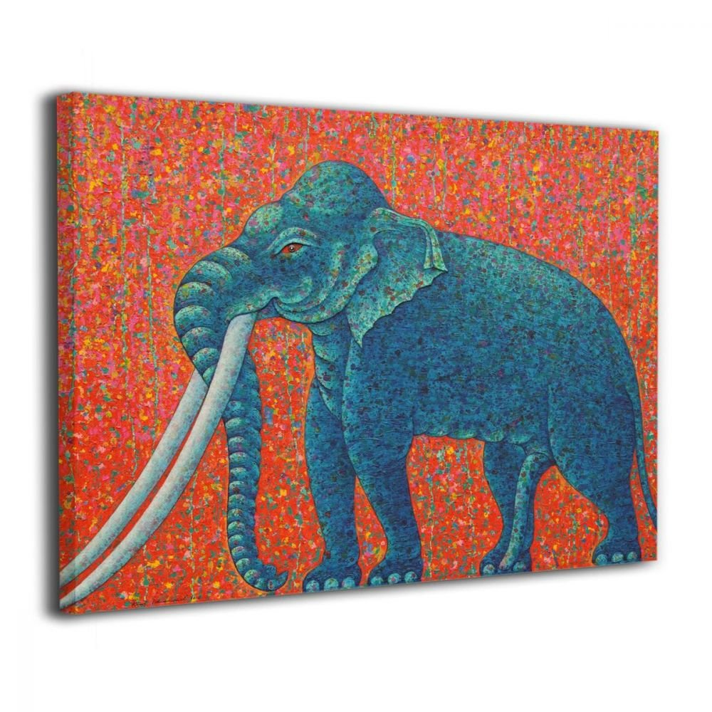 Okoart Canvas Wall Art Prints Blue Elephant Thai Thailand Wildlife Animal Photo Paintings Contemporary Decorative Artwork For Living Room Wall Decor And Home Decor Framed Ready To Hang 16x20inch by Okoart