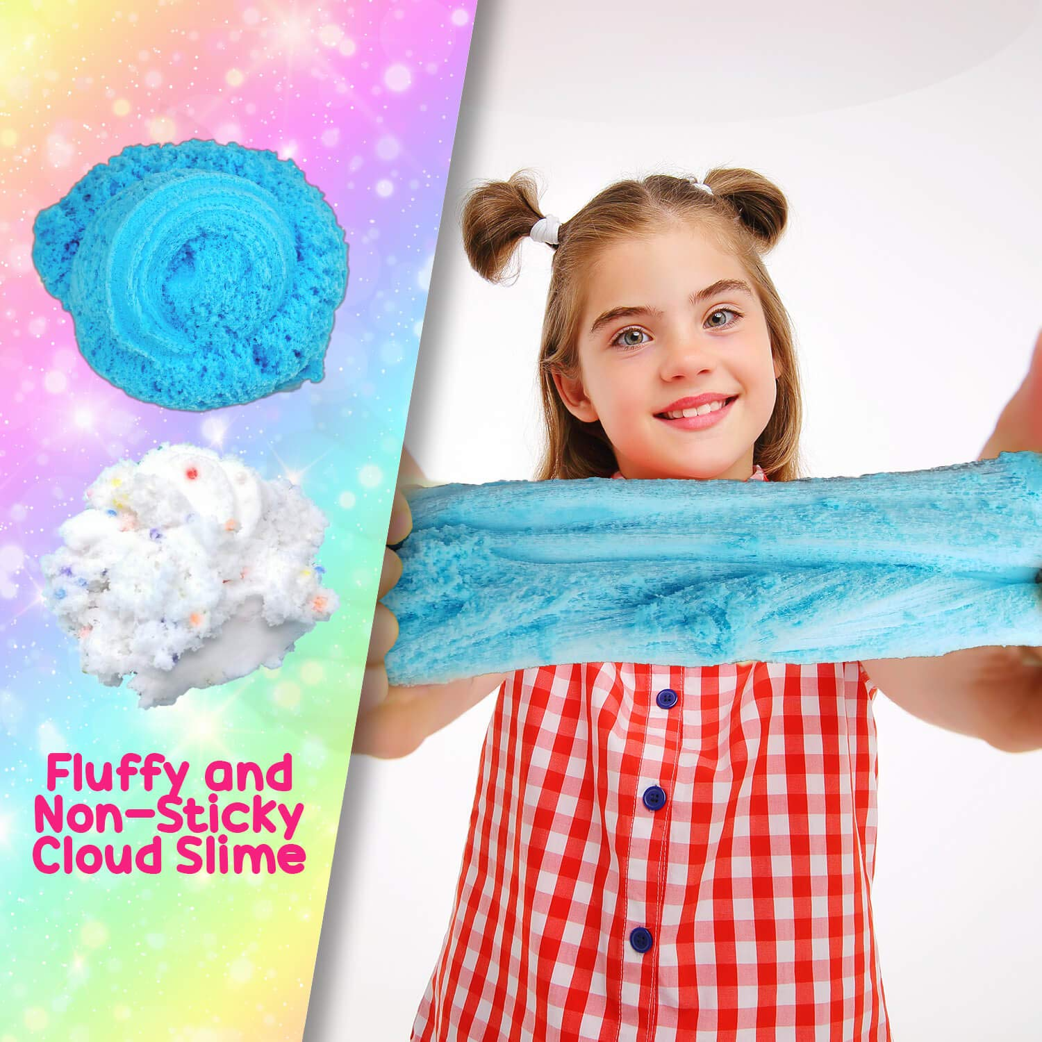Fluffy Cloud Slime - Birthday Cake Scented - Non - Sticky Made in The USA 8 oz by  Unitoots Slime Company (Image #5)