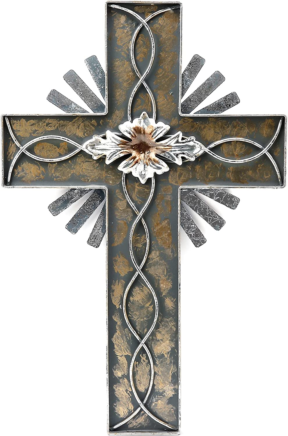 Holy Light Cross - Religious Metal Hangings - Silver Foil and Leaves Home Decor, Cross Wall Decor for Living Room, Bedroom and Dining Room (Champagne)
