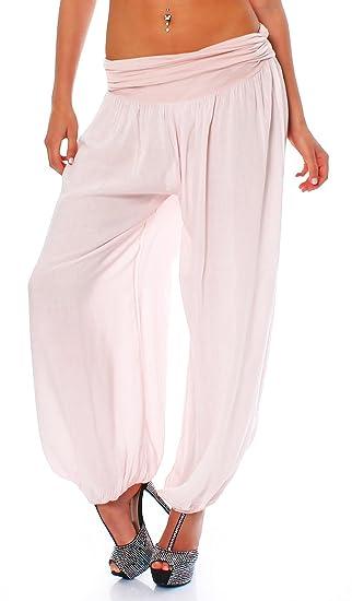 3782e72b5 Ladies Women Italian Lagenlook Plain Cotton Trousers pants Boho Harem Ali  Baba Trouser Pants Joggers  Amazon.co.uk  Clothing
