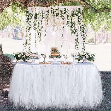 Amazon aytai pack of 4 white tulle table skirts for 6ft table aytai pack of 4 white tulle table skirts for 6ft tablepremium tutu table skirts junglespirit Choice Image