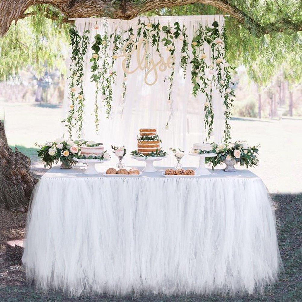 Aytai TUTU Table Skirt Tulle Tableware 100 x 80CM Wonderland Skirting Romantic for Wedding Christmas Party Baby Shower Birthday Cake Table Girl Princess Decoration(1, White) by Aytai (Image #3)