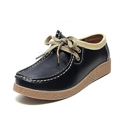 Amazon.com | Mildred Jones Women Oxford Shoes Soft Split Leather Lace-Up Women Flat Shoes Ladies Flats Moccasins Creepers | Shoes