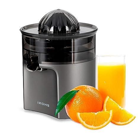 IKOHS Exprimidor Eléctrico de Naranjas y cítricos, 40 W, Apto para lavavajillas, grisfrecuencia 50-60Hz, Libre de BPA, Cono exprimidor, Filtro de ...