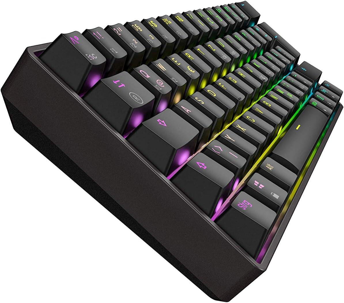 Mizar MZ60 Luna Teclado Mecánico Hotswap para Videojuegos - 62 Teclas LED RGB Multicolor Retroiluminadas para PC/Mac Gamer - Diseño Reino Unido ISO UK ...