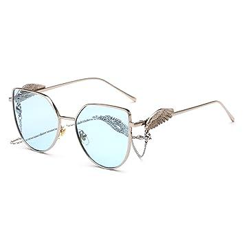 LXKMTYJ Avant-Garde Wild Sonnenbrille Persönlichkeit Kette Sonnenbrille Metall Sport Brillen Rückspiegel Silber blaue Meer im Vergleich 44rZnE