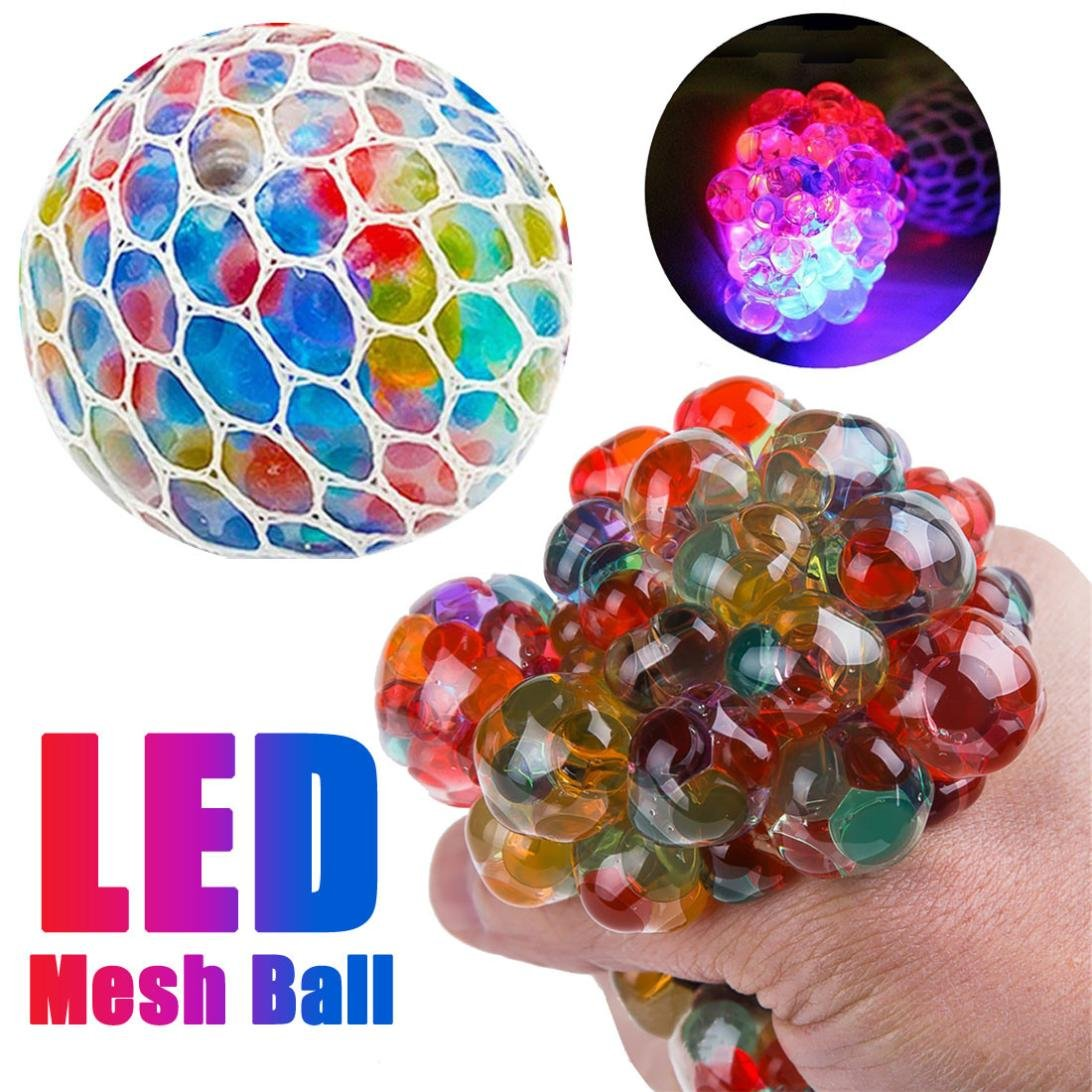 Hotsellhome New Mesh Ball Stress LED Glowing Squeeze Grape Toys Anxiety Relief Soft Stress Ball Toy Gift for Kids Adult