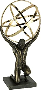 Veronese Design Bronze and Gold Finsh Atlas Carrying Celestial Sphere Statue