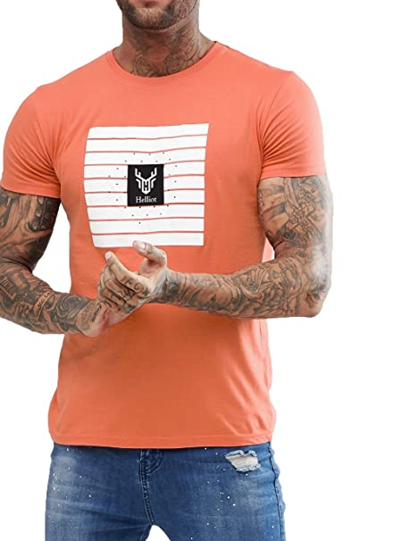 8d81a9bf90bf4 Helliot Half Sleeve Printed Tshirt for Mens Orage Peach Round Neck t Shirt  - Regular fit tee  Amazon.in  Clothing   Accessories