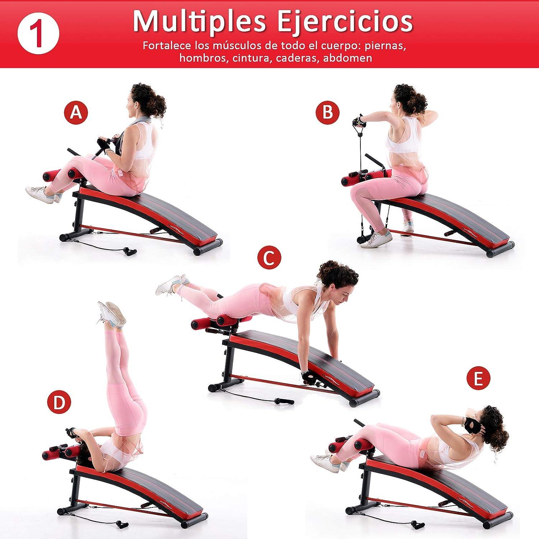 HOMCOM Banco de Musculación Banco Abdominal Pesas Estiramiento de Brazos Multifuncional para Fitness con 2 Cuerdas Expansor Acero: Amazon.es: Deportes y ...