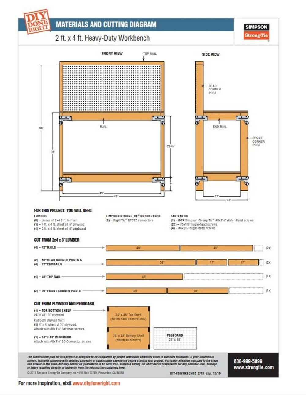 Simpson Strong Tie Available Wbsk Workbench And Shelving Wiring Diagrams For A Ceiling Fan Light Kit Doityourself Hardware Home Improvement