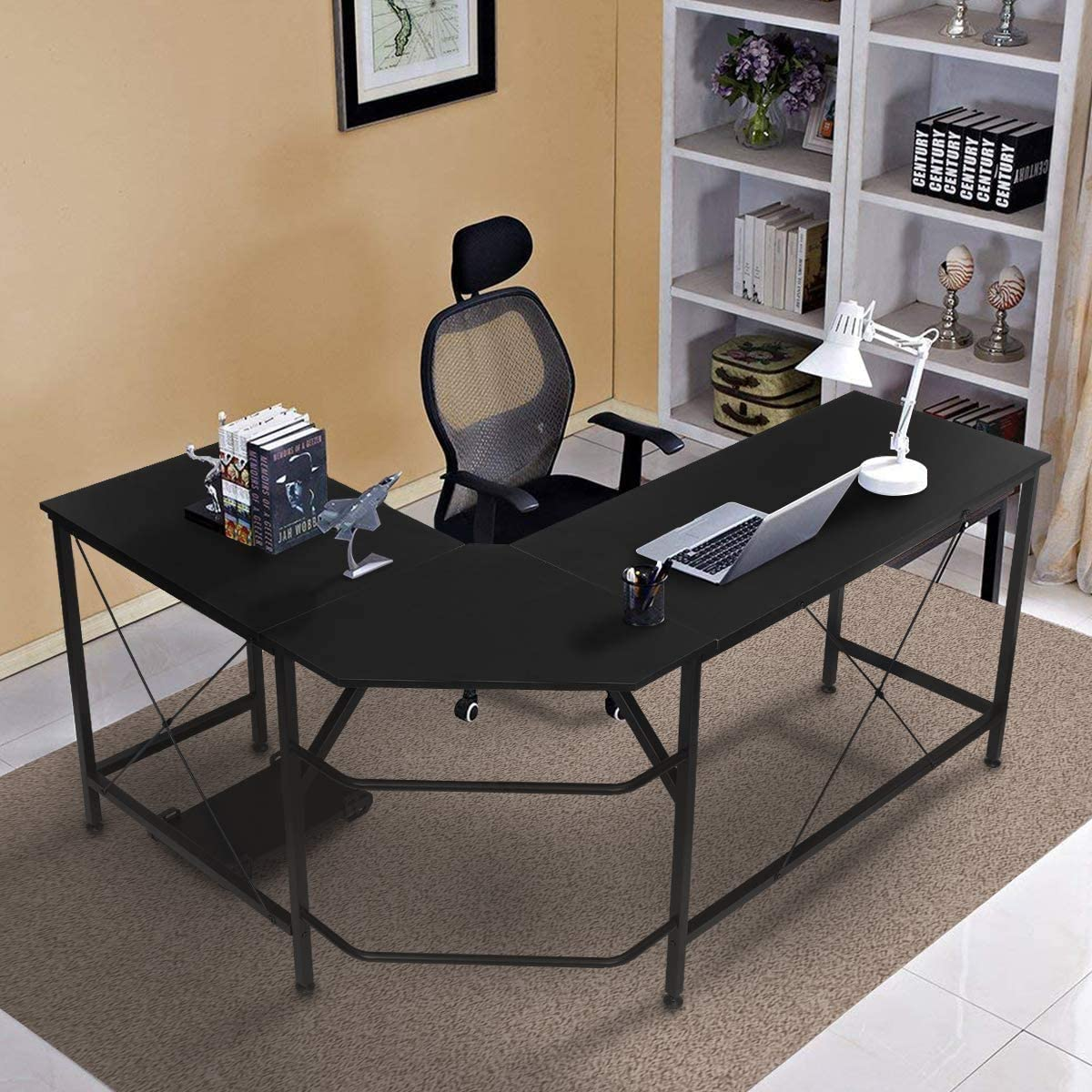 KINGSO L Shaped Computer Desk with CPU Stand 65 Modern Corner Desks for Home Office Workstation Wood Metal Corner Desk Laptop Writing Desk Table 64 x 47 x 30 , Black