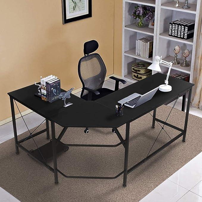 "KINGSO L Shaped Computer Desk with CPU Stand,65"" Modern Corner Desks for Home Office Workstation Wood & Metal Corner Desk Laptop Writing Desk Table (64"" x 47"" x 30"", Black)   Amazon"