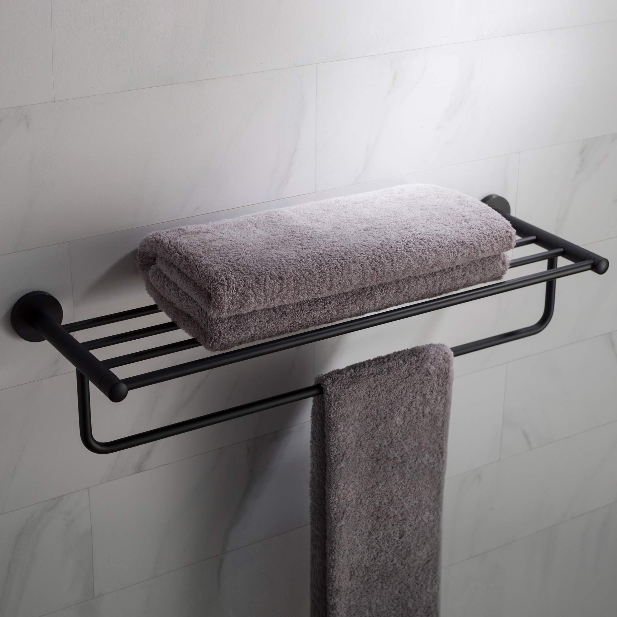 KRAUS Elie Bathroom Shelf with Towel Bar, Matte Black Finish, KEA-18842MB by Kraus (Image #1)