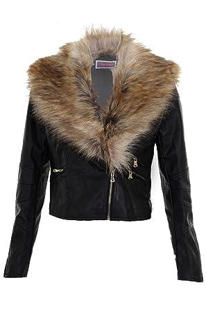 Fantasia Boutique pour femmes col fausse fourrure amovible femmes jabot cuir  synthétique VESTE MOTARD - Noir, 40: Amazon.fr: Vêtements et accessoires