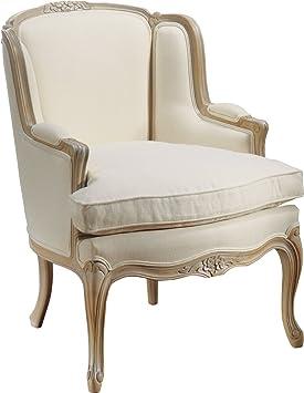 fauteuil bergre louis xv htre massif laqu blanc tissu blanc - Fauteuil Ancien Bergere