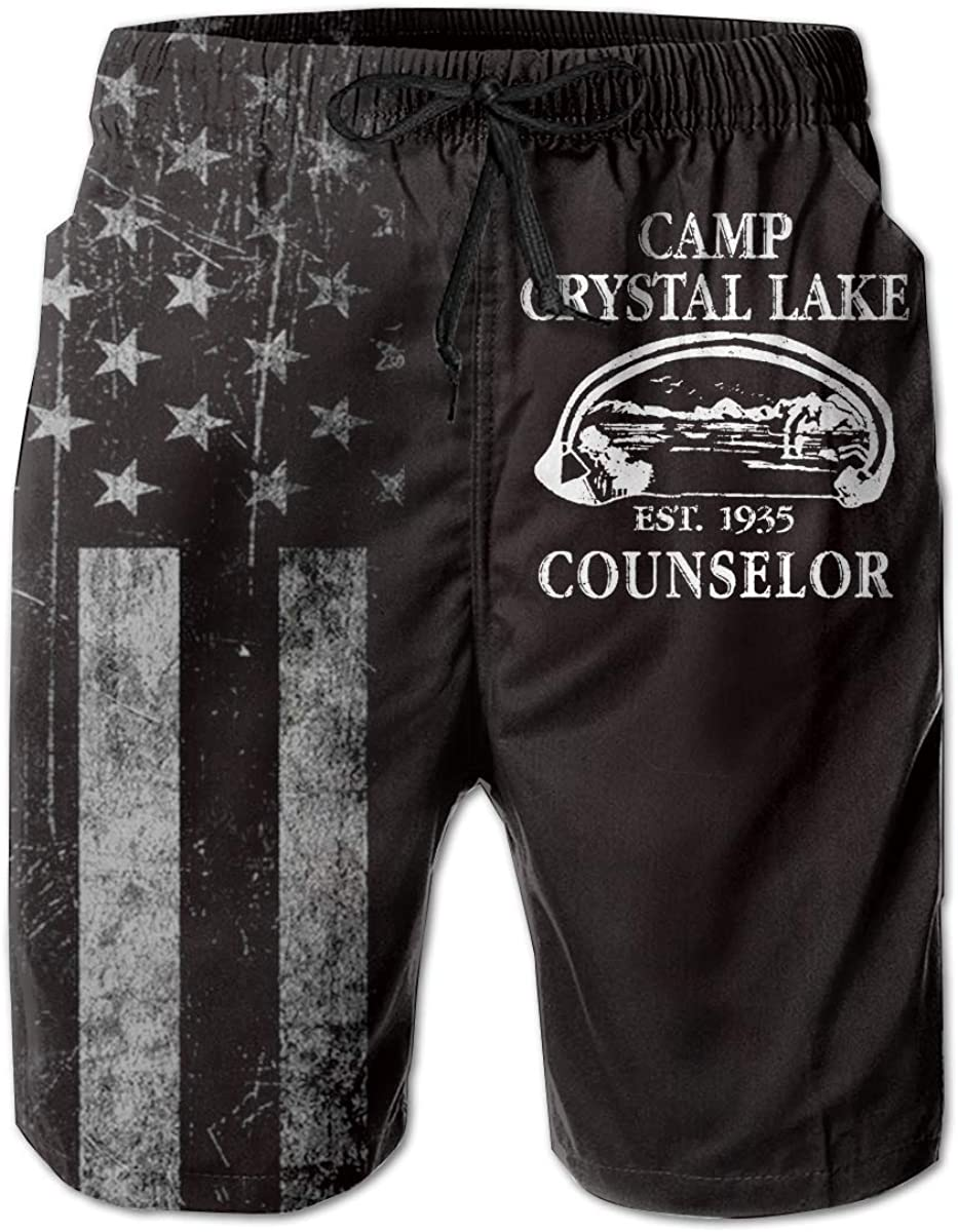 HANINPZ 1980 Camp Crystal Lake Counselor Mens Swim Trunks Beach Short Board Shorts