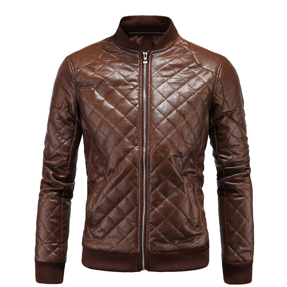 Mens Shirts clearance,NRUTUP Men's Fashion Jacket Warm Motorcycle Leather Warm Jacket Coats Top(Brown,M)
