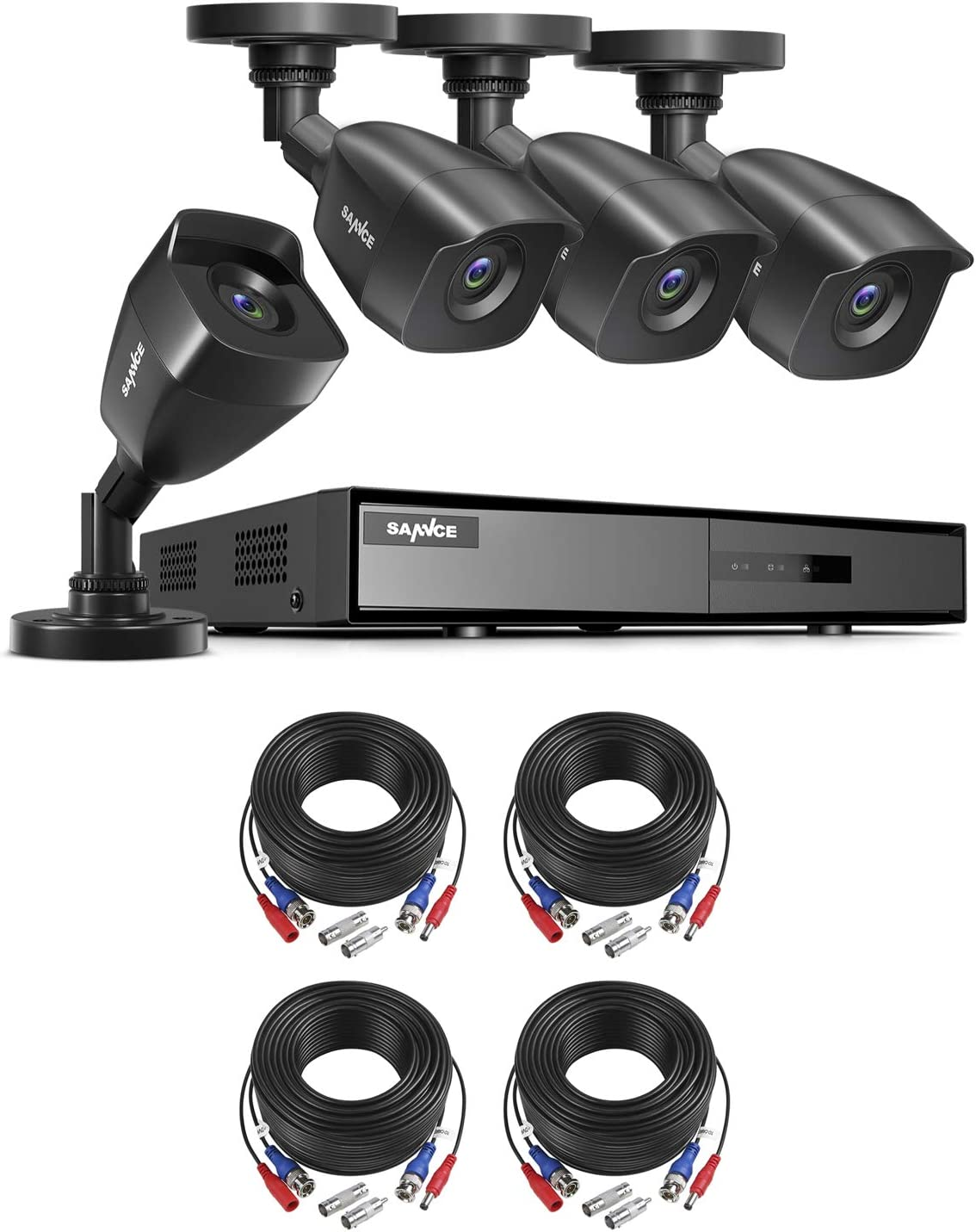 1080P Wired Security Camera System with 100 ft Security Cable