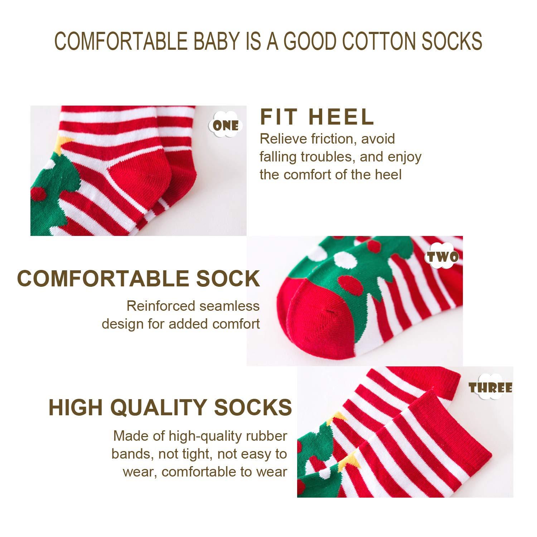 5-Pack Christmas Cotton Socks for Kids Children Crew Socks Fashion Cartoon Stockings Unisex Boys Girls Holiday Sock