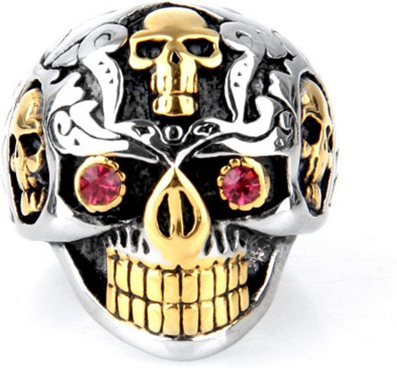 Nobrand XSZJ - Anillo de acero de titanio, diseño de calavera con ojos rojos