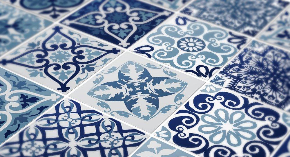 Wandaufkleber Portugiesische Blaue Küche Fliesendekor Fliesendekor Fliesendekor Ideen (Packung mit 48) (10 x 10 cm) B00OFYL7KO Fliesenaufkleber bf1f0e