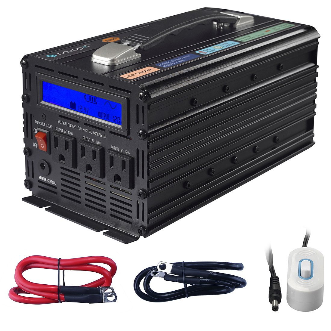 Novopal Power Inverter Pure Sine Wave 1000 Watt Schematic Diagram For Reference 1500 3 Ac Outlets Dc 12v To 120v With Remote Control Big Lcd Displaysurge 3000w