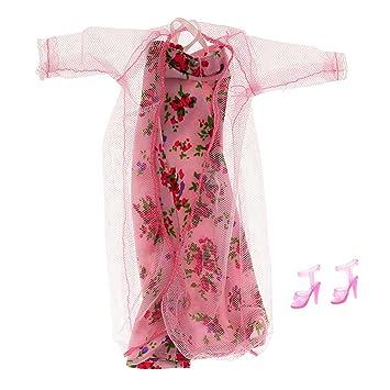 Ropa Muñecas Fashion Pijamas Encaje Fijado Flores para Barbie