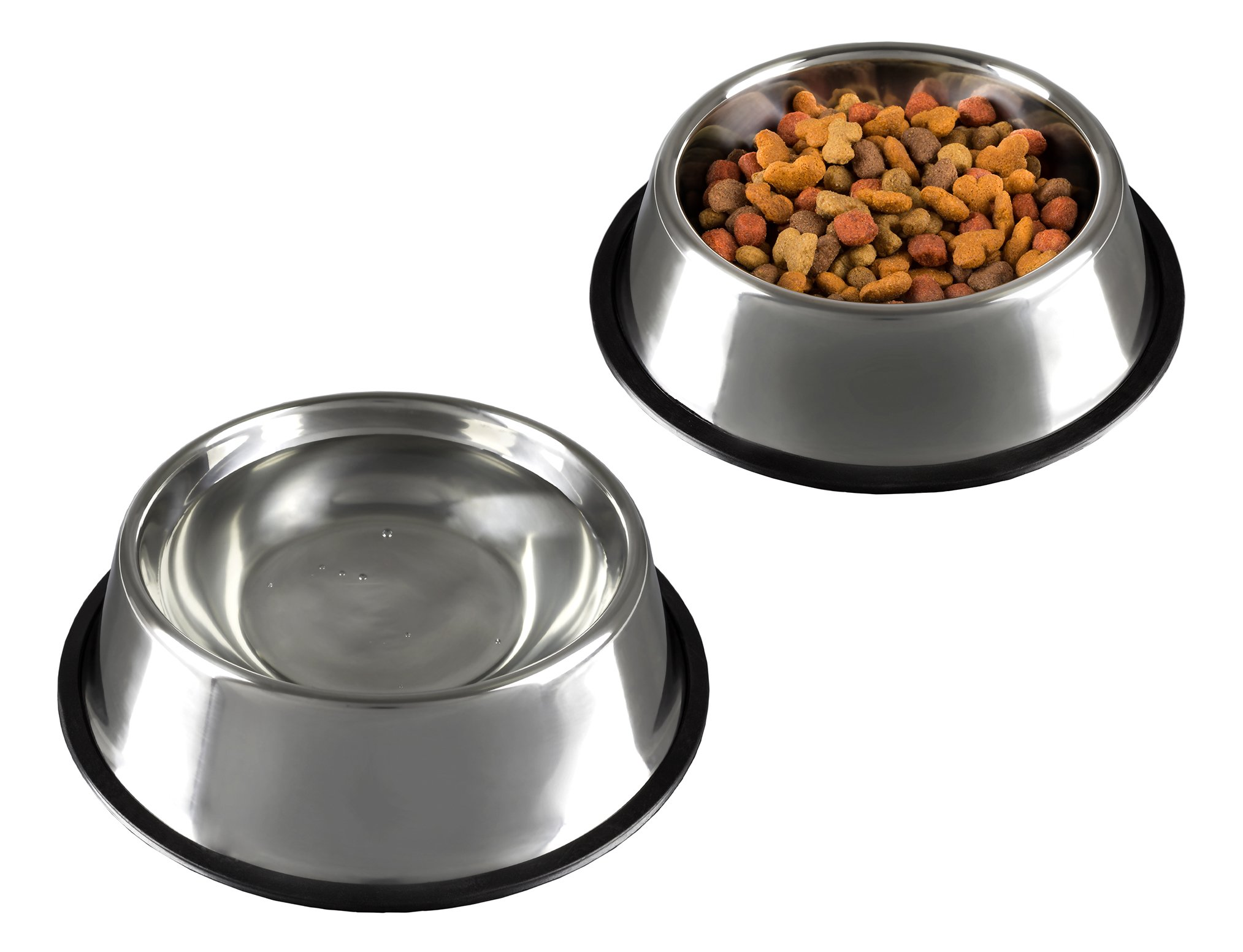 PETMAKER Stainless Steel Pet Bowls with Non Slip Rubber Bottom for Dogs and Cats-Feeder Dish for Food and Water- Set of 2, 16 Oz Each By