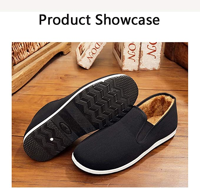 LH Winter Warm Anti-Skid Gluten Bottom Mens Casual Shoes with Velvet Feet Male Cotton Shoes Beijing Traditional Shoes Chinese Kung Fu Shoes,41