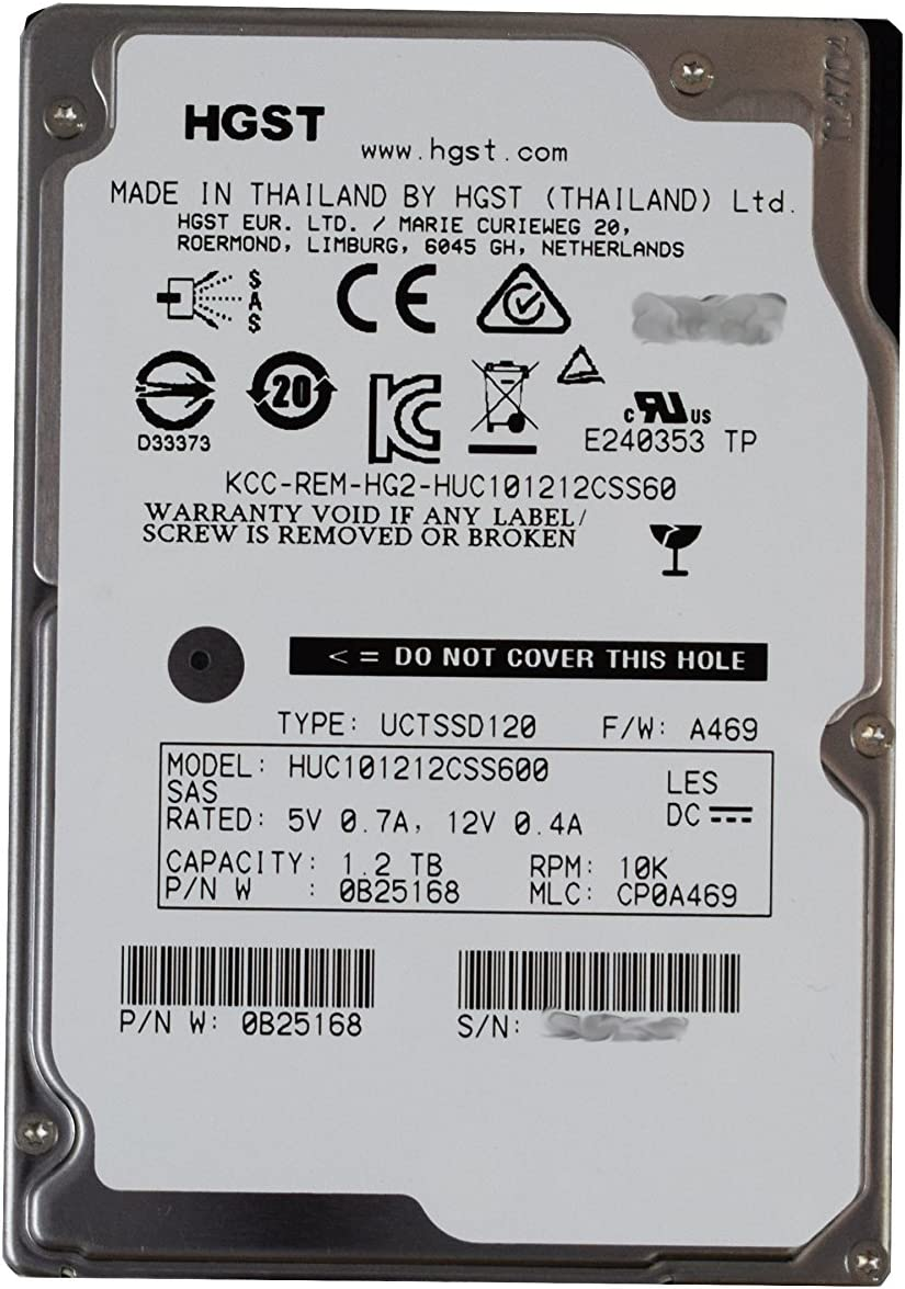 HGST Ultrastar HUC101212CSS600 0B25168 1.2TB 10K RPM SAS 6Gb//s 2.5 SFF 64MB Cache Internal Enterprise HDD