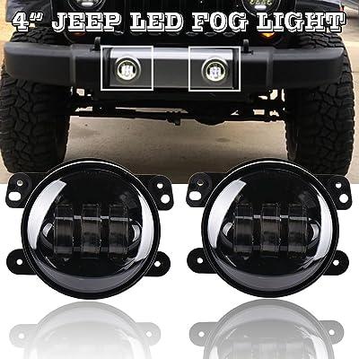 """NJSBYL 4"""" Inch 30W LED Headlight Fog Light DRL Light For JEEP 1997-2020 TJ LJ JK JKU Rubicon Sahara Hummer H1 H2 Off-road Dodge Front Bumper Off DOT Road Lights: Automotive"""