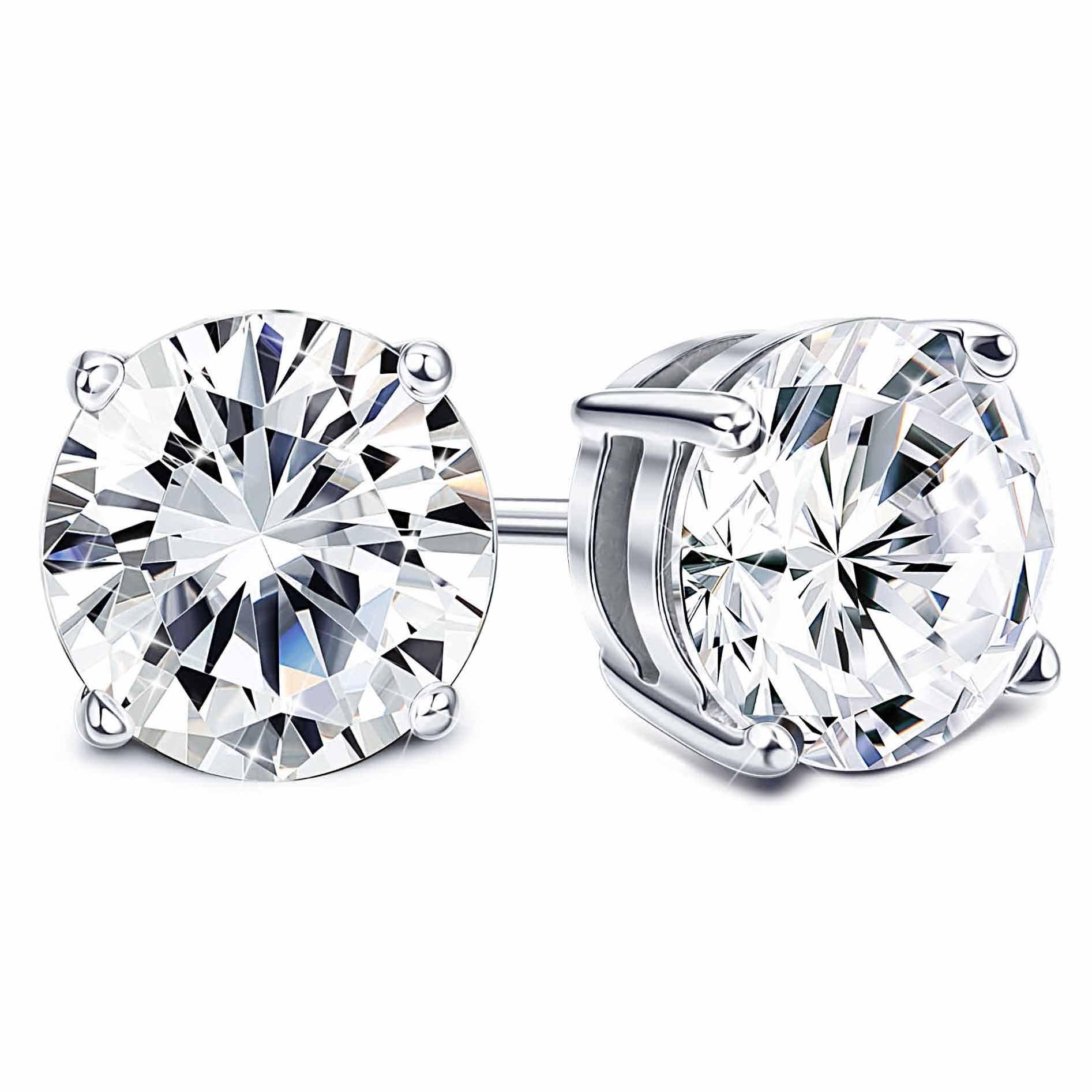 Sllaiss 925 Sterling Silver Earrings Swarovski Pure Brilliance Cubic Zirconia Stud Earrings for Women 4-Prong CZ 2.00cttw