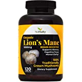 NuVitality Organic Lions Mane Mushroom Capsules - High-Dose 1000mg Lion's Mane (Hericium Erinaceus) & BioPerine Absorption Enhancer - Natural Brain Supplement & Nootropic, Mood Booster - 120 Count