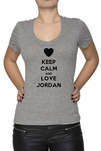 Keep Calm And Love Jordan Mujer Camiseta V-Cuello Gris Manga Corta Todos Los Tamaños Women's T-Shirt...
